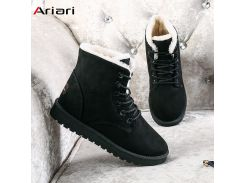Ariari Classic Women Winter Boots Suede Ankle Snow Boots Female Warm Fur Plush Insole High Quality Botas Mujer Lace-Up Drip Ship