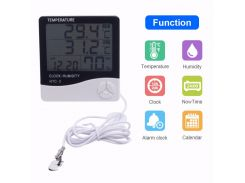 New Indoor Outdoor Thermometer Hygrometer Weather Station Wireless Temperature Humidity Tester Probe Clock Alar HTC-2 10pcs/lot