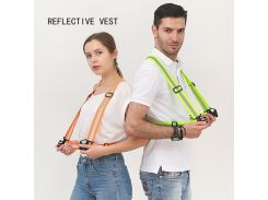 360 Degrees High Visibility Neon Safety Vest Reflective Belt Safety Vest Fit for Running Cycling Sports Outdoor Traffic Clothes