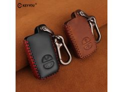 KEYYOU For Toyota Prius Land Cruiser Avalon Prado Leather Car Key Keychain Covers Key Case Bag KeyChain Bag 2/3/4 Buttons