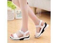 Summer PU Leather Sandals Women Ladies Wedges Shoes Peep Toe Buckle Strap Gladiator Sandals Platform Sandals Sandalisas Mujer