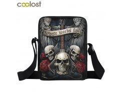 Rock Guitar Skull Rose Mini Messenger Bag Women Handbags Punk Small Shoulder Bags Heavy Metal Men Crossbody Bags Book Bag