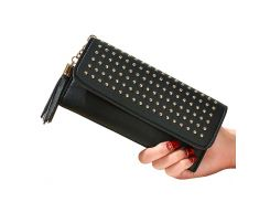 Women Wallets Golden Rivets Hasp Lady Purses Handbags Coin Purse Clutch Woman Wallet ID Cards Holder Money Bags Burse Notecase