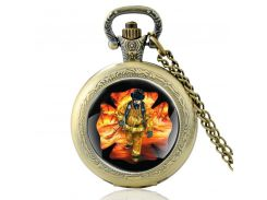 Brave Firefighter Art Glass Quartz Pocket Watch Vintage Bronze Men Women Pendant Necklace Watches