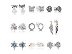 Forever Love Poetic Blooms With Crystal 925 Sterling Silver Earrings Studs For Women Wedding Party Gift DIY Pandora Jewelry