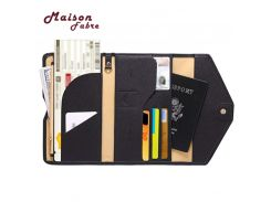 HB@Maison Fabre ID Card Wallet Neutral Multi-purpose Travel Passport Wallet Tri-fold Document Organizer Holder Bag