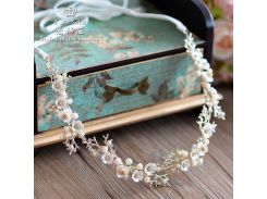 handmade shell flower crystal immitate pearl headband brides tiara headdress tocado novia bride hair accessories