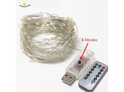 5/10M 50/100LED USB Remote Control Led String Lighting Silver Wire Fairy Light for Wedding Xmas Christmas Holiday Party Decor