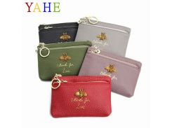 YaHe Mini Women Coin Purse 2018 Hot Sale Genuine Leather Card Holder with  Keychain Mini Zip 8674dc47ef93