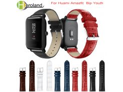 Crocodile Belt Straps For Xiaomi Huami Amazfit Bip BIT Lite Youth leather Smart Watch band  for amazfit Bracelet 20mm Sports