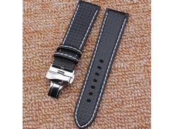 New Mens Black Carbon Fiber Watch Band Strap Bracelets Fits Smartwatch Pebble 18mm 20mm 22mm 24mm