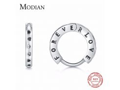 MODIAN New Fashion Authentic 925 Sterling Silver Vintage Romantic Hoop Earrings for Women Forever Love For Women Jewelry Gift
