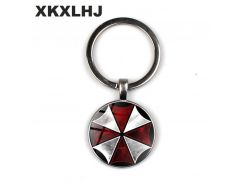 XKXLHJ case for Resident Evil Umbrella art picture glass metal keychain vintage fashion men key chain ring holder for car YSK117