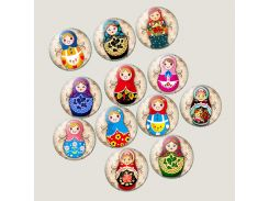 Vintage Russian Doll Art Picture 25mm Glass Cabochon Pendant Making Supplies for DIY Base Jewelry Accessories