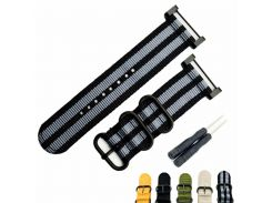 24MM Fits For Suunto Core For Note All Black Watch Band / Strap Nylon Zulu Strap3-Ring Lugs + Adapters + Clasp/Buckle+Tools
