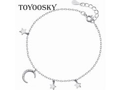 Personality New Art Moon With Stars Bracelet 925 Sterling Silver Jewelry High-quality Popular Bracelets & Bangles For Girls