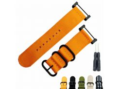 Fits For Suunto Core For Note All Black Watch Band / Strap Nylon Zulu Strap3-Ring Lugs + Adapters + Clasp/Buckle+Tools