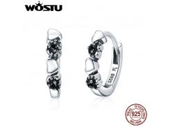 WOSTU Real 925 Sterling Silver Forever Love Heart, Black CZ Stud Earrings For Women Silver Earring Jewelry Lover Gift CQE445