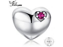 JewelryPalace Forever Us Created Ruby 925 Sterling Silver Heart Charm Beads Fit Bracelets For Women Fine Jewelry As Best Gifts