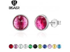 Bijoux 100% 925 Sterling Silver Birthstone Droplets Forever Circle Small Stud Earrings Women Sterling Silver Jewelry brincos