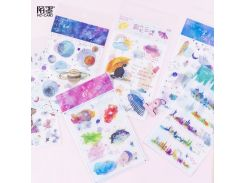2pcs Special Ink Washi Stickers Scrapbooking Flower Cloud Anime Stickers Bullet Journal Galaxy Planet Stationery Supplies