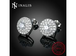 INALIS 925 Sterling Silver Stud Earrings Female Luxury Fashion Round Zircon Earrings Forever Love Gift for Woman