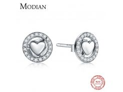 Modian 100% Real 925 Sterling Silver Fashion Forever Love Stud Earrings Charm Hearts Earring For Women Authentic Silver Jewelry