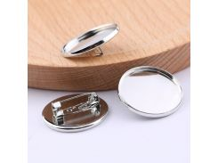 onwear 20pcs 25mm round cabochon brooch base setting diy blank metal basis for brooches making