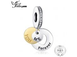 Jewelrypalace 925 Sterling Silver Forever Us Love Gold Murano Glass Charm Bracelets Charms For Jewelry Making Charms Metal New