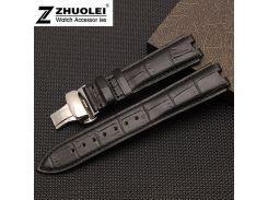 22mm Black|Brown 100%  leather  Butterfly Watch strap Bracelets replace Pebble Steel2 watchbands