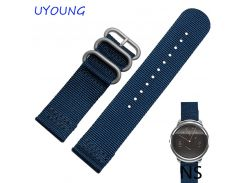 For moto 360(2nd Gen) New Fashion Man Watches Casual Style Nylon Watchband 22mm Silver Deployment Clasp Buckle For Ticwatch