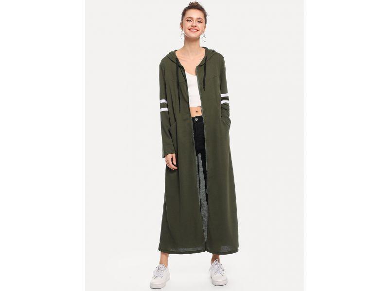 f0940de006a Контрастное длинное пальто с капюшоном в полоску купить недорого за ...