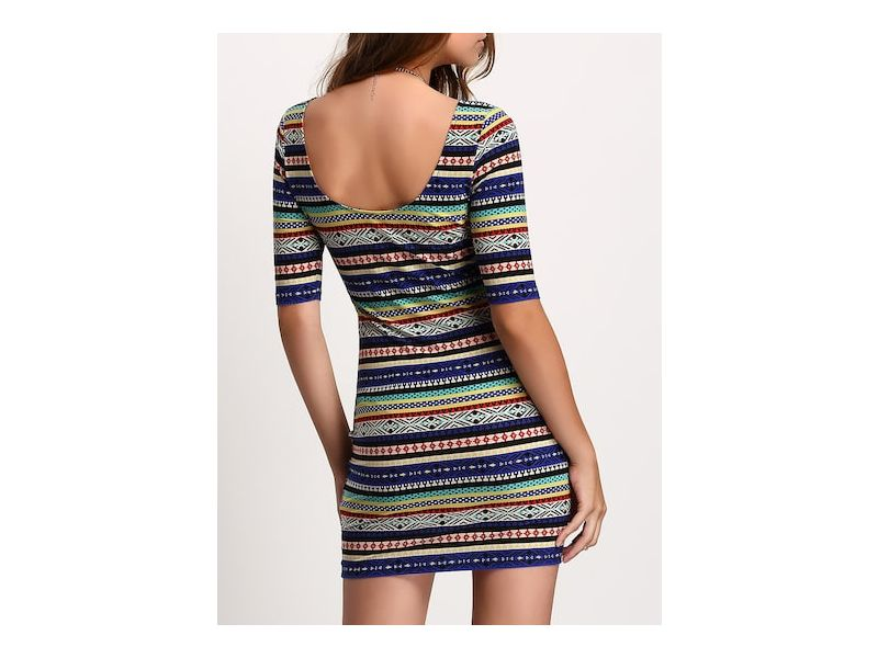 5e2fdfc0b65 Стильное облегающее платье с этническим принтом купить недорого за ...
