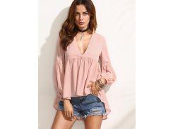 Розовая асимметричная блуза с глубоким вырезом