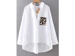 Белая асимметричная блуза. карман с леопардовым принтом