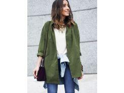 Модная куртка цвета хаки с поясом