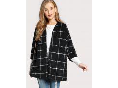 Чёрное клетчатое пальто