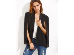 Чёрный модный пиджак-пончо