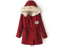 Бордовая куртка-парка с меховым капюшоном