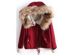 Малиновая куртка-парка с меховым капюшоном