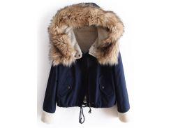 Темно-синий с капюшоном пальто