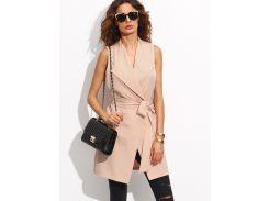 Розовый модный жилет с поясом