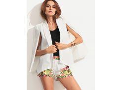 Белый модный пиджак-пончо