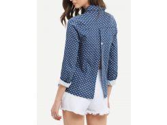 Синяя блуза со спиной с разрезом с звёздами с отворотом