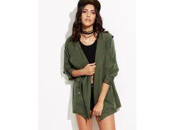 Модная куртка цвета хаки с капюшоном