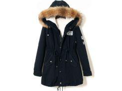 Тёмно-синяя куртка-парка с капюшоном
