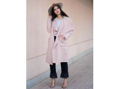 Розовое модное пальто с поясом с шалевым воротником