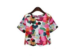 Разноцветная футболка с цветочным принтом