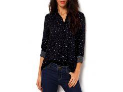 Черная блуза в горошек с V-образным вырезом