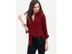 Бордовая асимметричная рубашка с карманами
